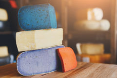 Gouda pesto cheese assortment. Lavender, blue, violet and red at Stock Photos