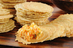 Gouda and Pimento Cheese Spread on Crackers Stock Image
