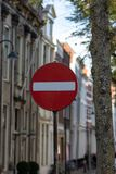 Gouda, South-Holland/The Netherlands - October 27 2018: Traffic sign in narrow one-way street stock photos