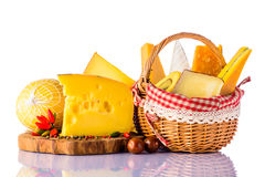 Gouda, Swiss Cheese, Morbier and Brie on White royalty free stock photo