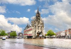 Gouda urząd miasta na targowym kwadracie, holandie Zdjęcia Royalty Free