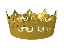 Gouden 3d koningenkroon Royalty-vrije Stock Afbeeldingen