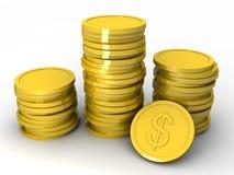 Gouden 3D muntstukken Stock Afbeelding
