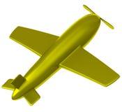 Gouden 3d vliegtuig Stock Afbeelding