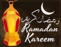 Gouden Aangestoken Lantaarn met Maan en Groeten voor Ramadan Celebration, Vectorillustratie stock illustratie