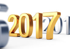 Gouden aantal op wit Het concept van het nieuwjaar Stock Fotografie