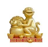 Gouden aapbeeldhouwwerk Royalty-vrije Stock Fotografie