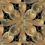 Gouden abstract bloemen 3d vector naadloos patroon Siernet Royalty-vrije Illustratie