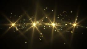 Gouden abstract muziekontwerp op zwarte stock illustratie