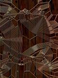 Gouden abstract patroon op houten achtergrond het 3d teruggeven Royalty-vrije Stock Foto's