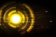 Gouden abstract van technologie futuristisch hud vectorontwerp als achtergrond Royalty-vrije Stock Afbeelding