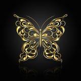 Gouden abstracte vlinder op zwarte achtergrond stock illustratie