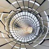 Gouden abstracte vormen futuristische tunnel Stock Afbeeldingen