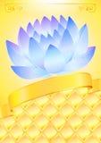 Gouden achtergrond met blauwe lotos en boog vector illustratie