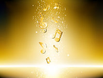 Gouden achtergrond met muzieknota's royalty-vrije stock foto