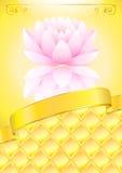 Gouden achtergrond met roze lotos en boog Stock Foto's