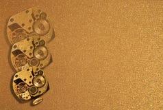 Gouden achtergrond met uren Stock Afbeeldingen