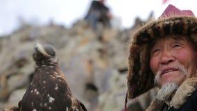 Gouden adelaar met ouder op de berg stock videobeelden