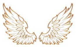 Gouden adelaarsvleugel die op witte achtergrond wordt geïsoleerd Royalty-vrije Stock Foto's