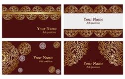 Gouden adreskaartjes Royalty-vrije Stock Afbeeldingen