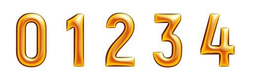 Gouden alfabet, aantallen serie, nul, één, twee, drie, vier, witte achtergrond Stock Fotografie