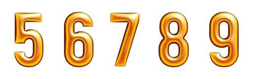Gouden alfabet, aantallen serie, vijf, zes, zeven, acht, negen, witte achtergrond Royalty-vrije Stock Afbeelding