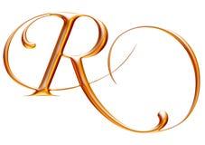 Gouden alfabet, brief R, 3d illustratie Stock Afbeeldingen