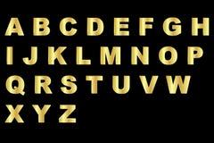 Gouden alfabet - in hoofdletters Stock Foto