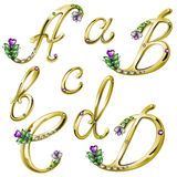 Gouden alfabet met gemmenbrieven A, B, C, D Stock Fotografie