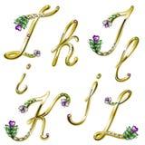 Gouden alfabet met gemmenbrieven I, J, K, L Royalty-vrije Stock Fotografie
