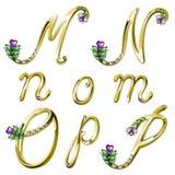 Gouden alfabet met gemmenbrieven M, N, O, P Stock Foto's