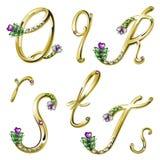 Gouden alfabet met gemmenbrieven Q, R, S, T Royalty-vrije Stock Foto's