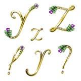 Gouden alfabet met gemmenbrieven Y, Z en tekens Royalty-vrije Stock Foto's