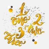Gouden alfabetaantallen, hand-drawn krabbelschets Vector eps10 Stock Foto's
