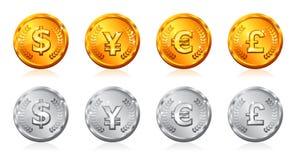 Gouden & zilveren muntstukken Stock Afbeeldingen