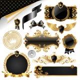 Gouden & zwarte inzameling van ontwerpelementen Stock Afbeeldingen