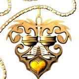 Gouden Amulet van Koppen Stock Afbeelding