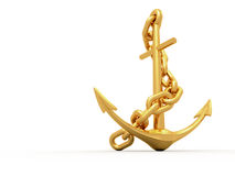 Gouden Anker Royalty-vrije Stock Fotografie