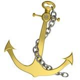 Gouden anker met ketting die op wit wordt geïsoleerdd Royalty-vrije Stock Afbeelding
