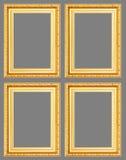Gouden antiek die kader op grijze achtergrond wordt geïsoleerd Royalty-vrije Stock Afbeelding