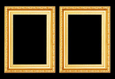 Gouden antiek die kader op zwarte achtergrond wordt geïsoleerd Royalty-vrije Stock Afbeelding