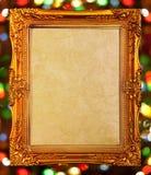 Gouden antiek frame, abstracte bokehachtergrond Royalty-vrije Stock Afbeelding
