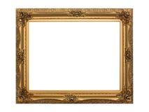Gouden antiek frame dat met het knippen van weg wordt geïsoleerdl Stock Afbeeldingen