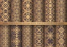 Gouden Arabesque-Patronen Royalty-vrije Stock Afbeeldingen