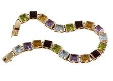 Gouden armband met stenen royalty-vrije stock afbeeldingen