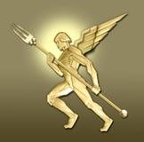 Gouden art decoengel w/fork Royalty-vrije Stock Foto's