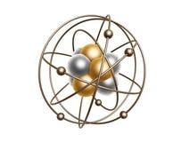 Gouden atoomstructuur Stock Afbeelding