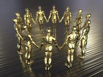 Gouden avatars - de metaalachtergrond van holdingshanden stock fotografie