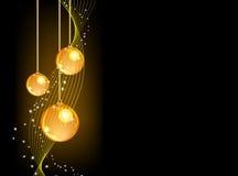 Gouden ballen op zwarte achtergrond Stock Foto