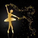 Gouden ballerina op donkere achtergrond vector illustratie